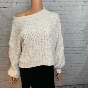 VERY Soft White Chunky Cotton Sweater